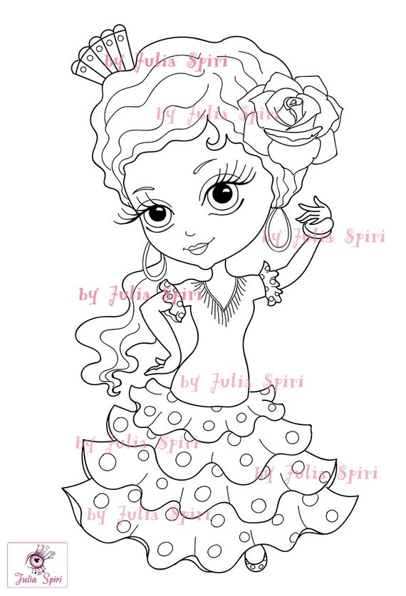 Digital Stamps Flamenco Sevillana Spanish Girl Craft Big Eyes Coloring Pages Paper Crafting Cardmaking Homemadecard Little Carmen