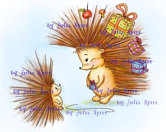 Digital Stamps, Digi stamp, Coloring pages, Hedgehog stamps Pets stamp Gift. The Collection: I have Something for You! The Hedgehog and Gift