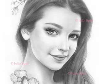 Coloring Page, Digital stamp, Digi, Girl, Realistic Portrait, Fantasy, Butterfly, Grayscale. Amelia