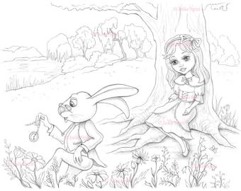 Coloring Page, Digital stamp, Digi, Alice in Wonderland, Whimsy, Line art. Alice and Rabbit