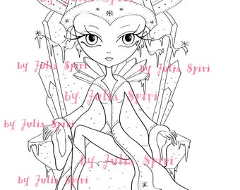 Digital Stamps, Digi stamp, Coloring pages, Winter stamps, Queen stamps, Fantasy, Scrapbooking. The Winter Collection. The Snow Queen