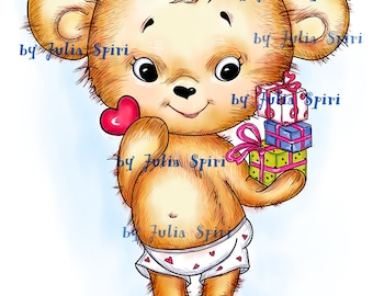 Digital Stamps, Digi stamp, Coloring pages, Teddy stamps, Pets stamp, Gift. The Collection: I have Something for You! The Teddy and Gift