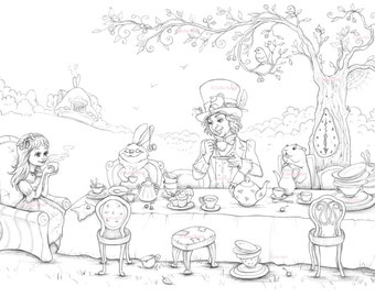 Coloring Page, Digital stamp, Digi, Alice in Wonderland, March Hare, the Hatter, Whimsy, Line art. A Mad Tea-Party