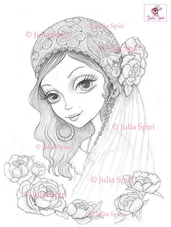 coloring pages digital stamp digi bride boho flowers etsy
