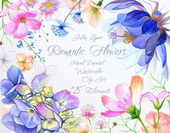 Watercolor Romantic Flowers Clipart Hydrangea Cosmos ...