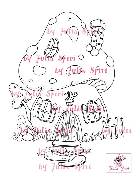 Digital Stamps Digi Stamp Coloring Pages Mushroom