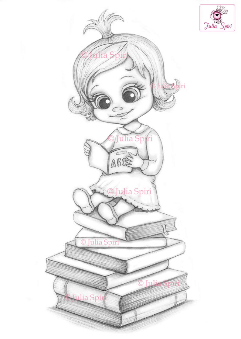 Back to School Coloring Page Digital stamp Digi Girl image 0