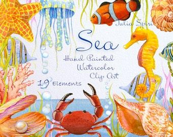 Watercolor Sea Clipart,  Marine, Ocean, Fish, Starfish, Pearl, Seahorse, Jellyfish, Bubbles, Shell, Crab, Seaweed Coral Invitation, Diy. Sea