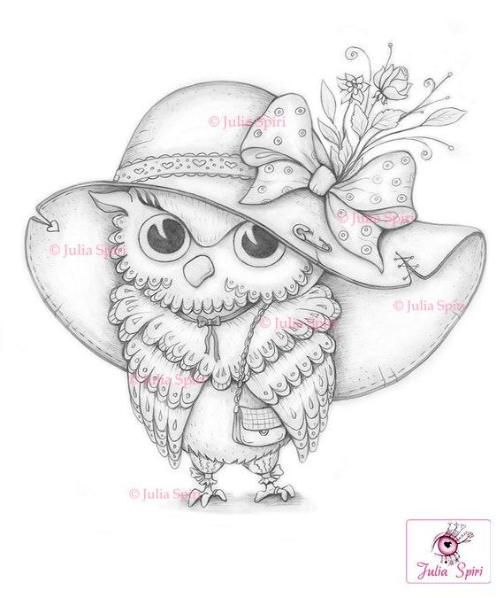 Owl Coloring Page, Digital stamp, Digi, Fashion, Hat, Bird, Bag, Bow,  Crafting, Fantasy, Whimsy, Craft. Owl Fashionista