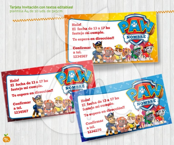 Printable And Editable Texts Paw Patrol Kit For Your Party Instant Download