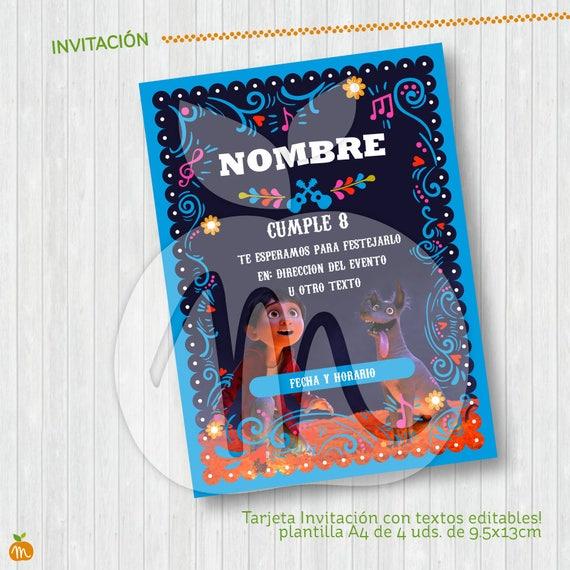 Printable Cards Coco Textos Editables Descarga Ya Instant Download Fiesta Cumpleaños Y Baby Shower