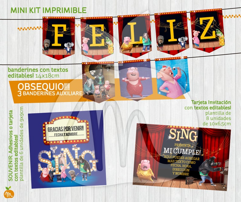 Printable kit SING Ven y canta Birthday party. Cumpleaños.  adaf5ddc468