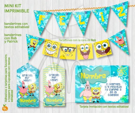 Printable Kit Bob Esponja Y Patricio Spongebob Patrick Textos Editables Descarga Ya Instant Download Fiesta Cumpleaños Y Baby Shower