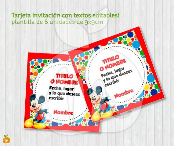 Printable Cards Mickey Mouse Party Fiesta Tarjeta Invitación Textos Editables Descarga Ya Instant Download