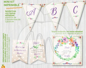 LOVELY Printable and editable texts kit Spring Garden with flowers and little birds! INSTANT DOWNLOAD!
