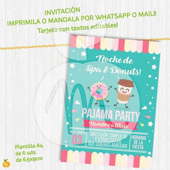 Spa Donuts Printable Kit Kawaii Invitación Banderines Photo Booth Props Con Textos Editables Descarga Ya Instant Download