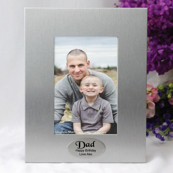 Silver Photo Frame With Personalised Message Dad Pop Etsy