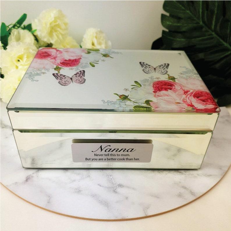 Mum Reflection Personalised Nana Grandma  Mirrored Jewelry Box