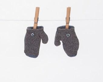 Blue/Purple Wool Baby Toddler Vintage Style Mittens