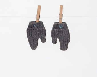 Gray Wool Baby Toddler Vintage Style Mittens