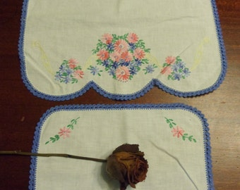 Two Flower  Doily, Hand crocheted and Embroidered