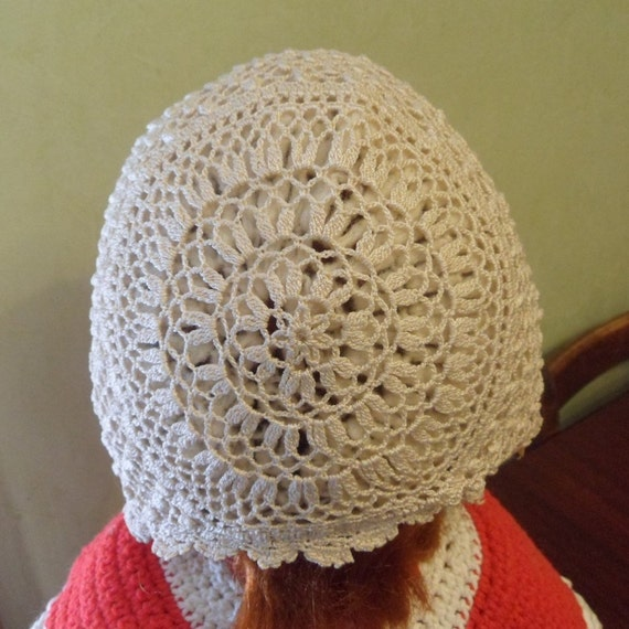 Little Girls crocheted Hat, Church And  Christenin