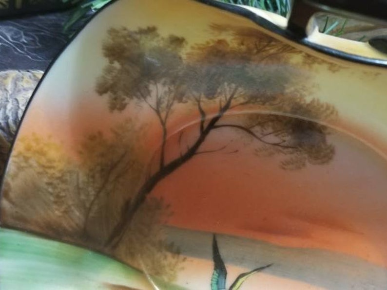 Noritake China Curved Dish With Handles Morimura Tree By  Lake With Flying Bird