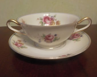 Vintage Bavaria Tirschenreuth, The Ascot 4487  Flower Two Handled Cup And Saucer