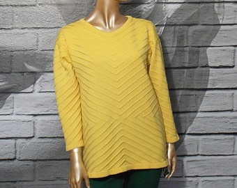 Escada sweater, yellow wool sweater, soft warm jumper, stripe knit pullover, wool jumper, chevron sweater