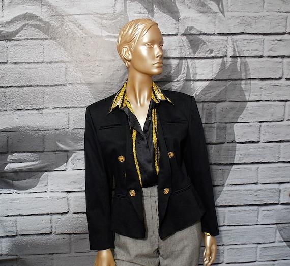 Guy Laroche black jacket, collarless one button sh