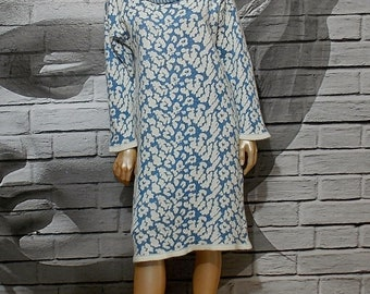 Retro knit sweater dress Roman Brown, blue and white sweater dress,oversized winter dress