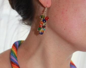 Rainbow cluster earrings drop, summer jewelry bridesmaid earrings long, elegant classy earrings, Mothers day gift sparkly earrings for women