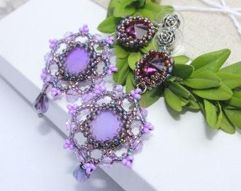 Christmas holiday gift for her girlfriend, Purple chandelier earrings, Amethyst Swarovski crystal beaded earrings, Lilac Long drop earrings