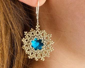 Earrings. Dangle beaded earrings with turquoise swarovski  crystal, silver wedding earrings for bride, Boho chandelier earrings for mom wife