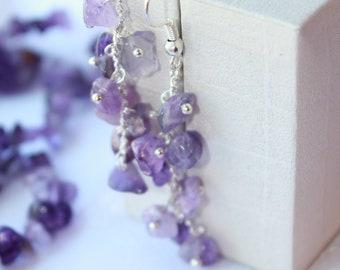 Christmas holiday gift Amethyst earrings, cluster earrings, gemstone earrings, long Wedding earrings, custom birthstone jewelry gift for her