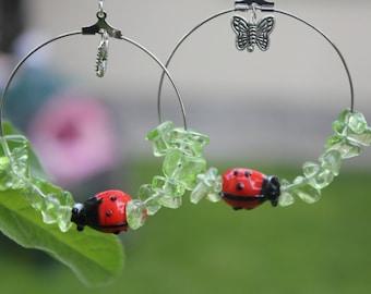 Custom Birthstone earrings for wife, Peridot hoop earrings with ladybug butterfly charm, birthday jewelry gift green summer earrings crystal