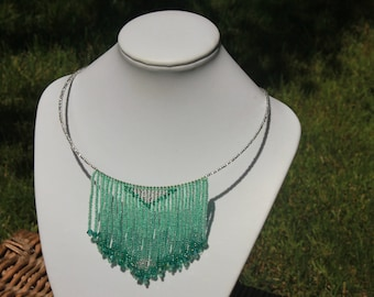 Mint green bead necklace, tribal necklace seed bead, fringe choker, boho chic necklace,  beaded tassel necklace, statement summer necklace