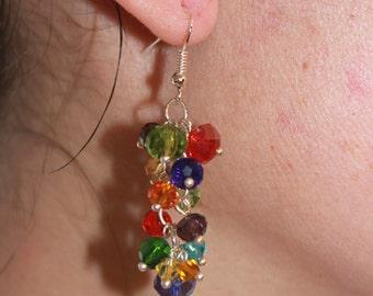 Rainbow earrings rainbow jewelry rainbow colors multicolor earrings earrings hanging rainbow chakra rainbow pride rainbow girl earrings dang