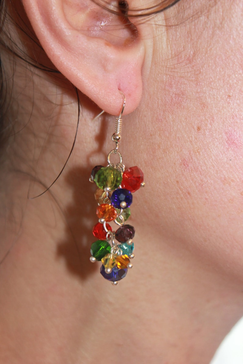 Rainbow cluster earrings dropsummer jewelry bridesmaid image 0