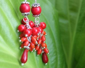 coral earrings gift for women, Red chandelier earrings wife, mom birthday gift, gemstone cluster earrings, mothers day gifts dangle earrings