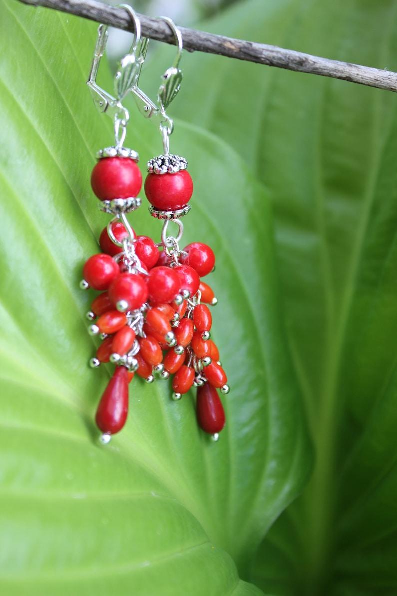 coral earrings gift for women Red chandelier earrings wife image 0
