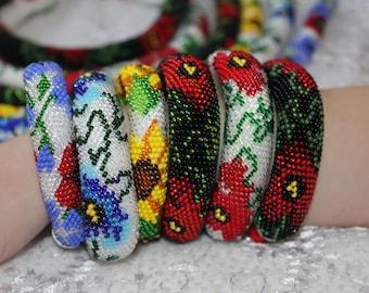 Christmas holiday gift, seed bead Crochet flower bracelet for women, Sunflower red poppy blue flower floral bridal jewelry, bangle bracelet