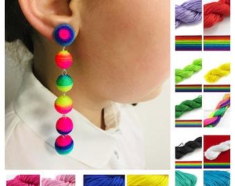 Rainbow earrings. Extra long colorful earrings, 6 ball clip on earrings dangle, Silk drop ball earrings, Statement bon bon earrings