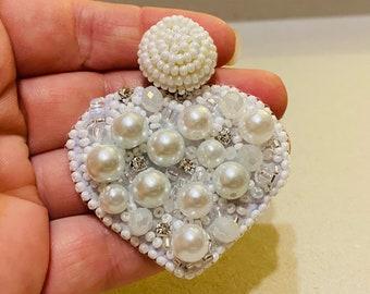 Heart earrings, pearl earrings, heart pendant necklace, white heart jewelry bride, statement earrings for wife, Swarovski crystal earrings