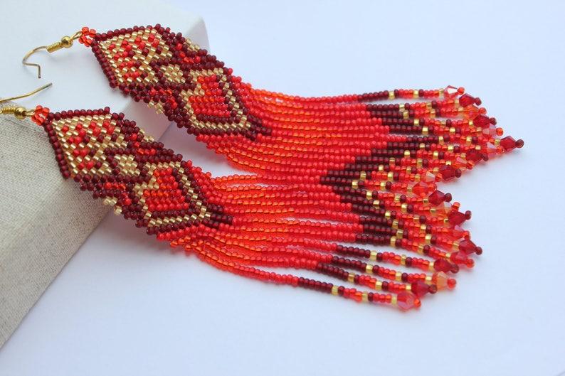 Christmas holiday gift Seed bead earrings Heart earrings for image 1