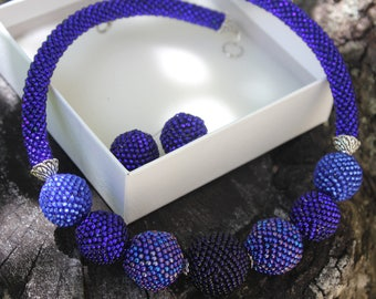 Blue choker necklaces for women, beaded ball bonbon choker, bold necklaces, chunky necklace, bridesmaid necklace unique, mothers day jewelry