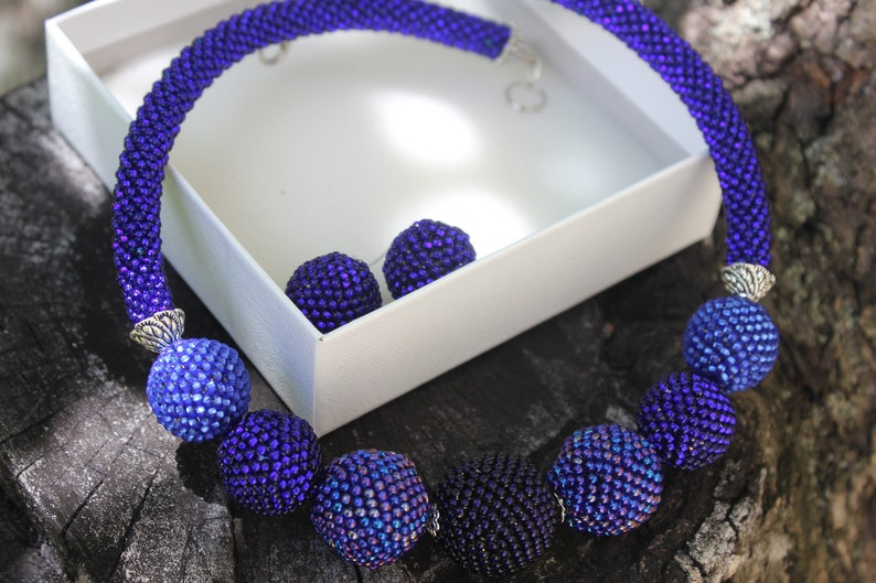 Blue ball necklacebonbon chokerbold necklaces for image 0