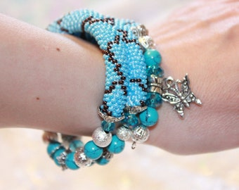 Turquoise bracelet, turquoise jewelry gift for sister, wrap bracelet for women~memory wire bracelet~charm bracelet for women~Valentines gift
