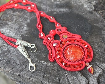 red necklaces for women,lariat pendant, soutache jewelry, girlfriend birthday gift, jewelry gift for her~layered necklace~Valentines gift