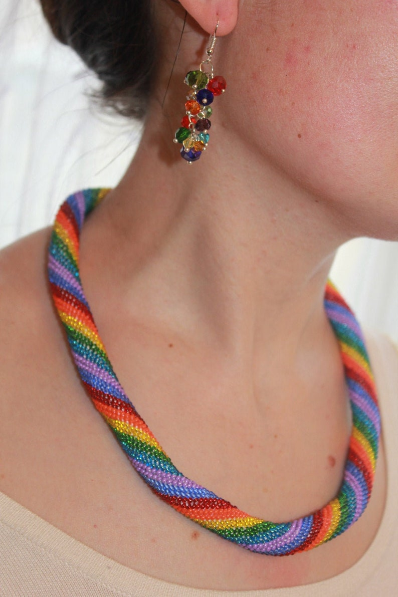 Rainbow cluster earrings drop summer jewelry bridesmaid image 0
